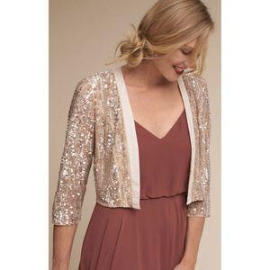 BHLDN Lotus Thread Mari Gold Sequin  Jacket Shrug